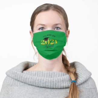 Class of 2021 Graduate Black Gold and Green Adult Cloth Face Mask