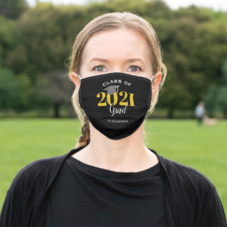 Class of 2021 Graduate Modern Black White & Gold Adult Cloth Face Mask