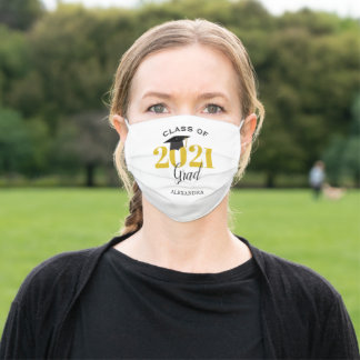 Class of 2021 Graduate Modern Gold and Black Adult Cloth Face Mask
