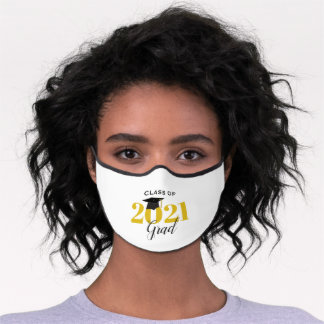 Class of 2021 Graduate Modern Gold and Black Premium Face Mask