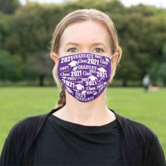 Class of 2021 Graduation Cap and Tassel Purple Adult Cloth Face Mask