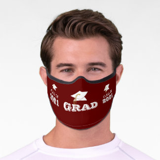 CLASS OF 2021 SENIOR Red Word Art Premium Face Premium Face Mask