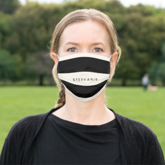 Classic Black and Eggshell White Stripes with Name Adult Cloth Face Mask