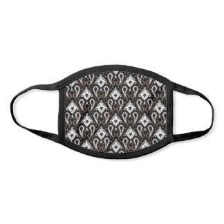 Classic Black White Dark Taupe Brown Ikat Tribal Face Mask