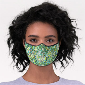 Classic Cute Girly Green Blue Paisley Pattern Premium Face Mask