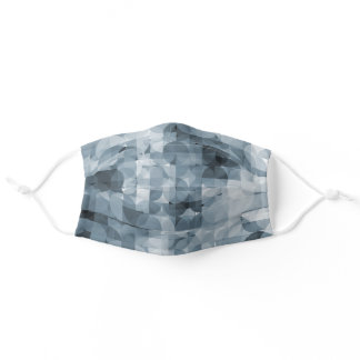 Classic Gray Slate Blue Squares Circles Pattern Adult Cloth Face Mask