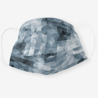 Classic Gray Slate Blue Squares Circles Pattern Cloth Face Mask