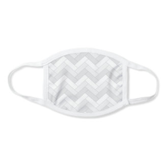 Classic Grays White Herringbone Pattern Face Mask