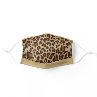 Classic Leopard Pattern Custom Name Calligraphy Adult Cloth Face Mask