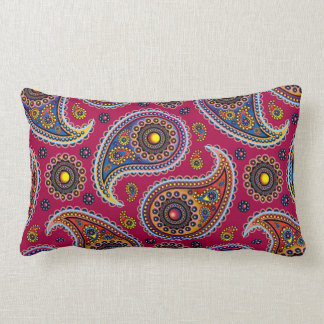 Classic Paisley Red Navy Blue Yellow Girly Floral Lumbar Pillow