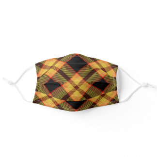 Classic Rustic Gold Autumn Color Plaid Adult Cloth Face Mask