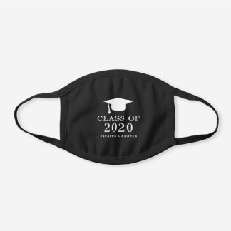 Classic White Class of 2020 Graduation Cap Black Cotton Face Mask
