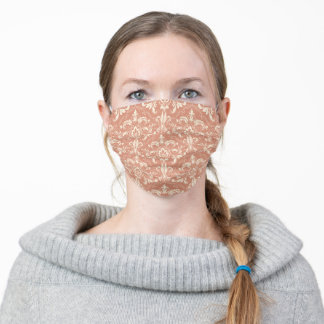 Classical Victorian Ornament Damask Burning Sand Adult Cloth Face Mask