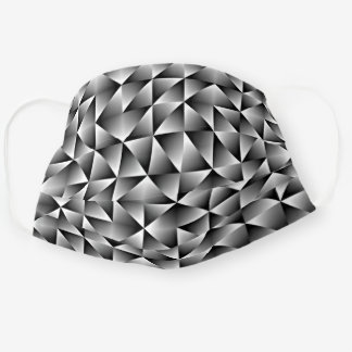 Classy Black White Gray Squares Triangles Pattern Cloth Face Mask