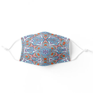 Classy Blue Purple Red White Kaleidoscope Pattern Adult Cloth Face Mask