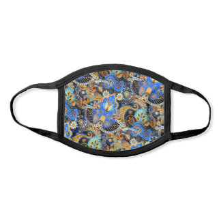 Classy Blue Turquoise Orange Black Floral Paisley Face Mask