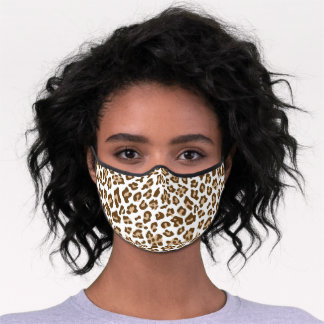 Classy Brown Tan Leopard Skin Spots On White Premium Face Mask
