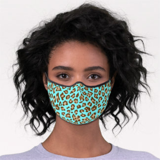 Classy Brown Tan Leopard Skin Spots Turquoise Blue Premium Face Mask