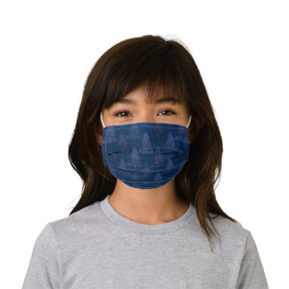 Classy Christmas Trees   Classic Navy Blue Kids' Cloth Face Mask