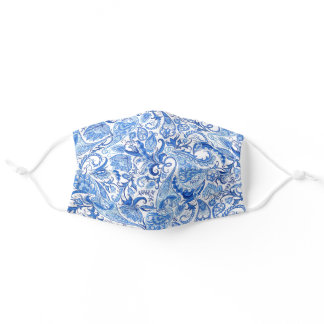 Classy Light And Dark Blue White Floral Paisley Adult Cloth Face Mask