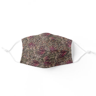 Classy Mauve Taupe Pink Dark Brown Paisley Art Adult Cloth Face Mask