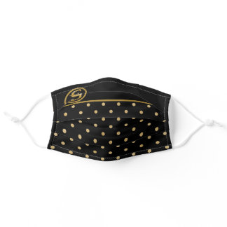 CLASSY MONOGRAM S BLACK & GOLD SOCIAL DISTANCING ADULT CLOTH FACE MASK