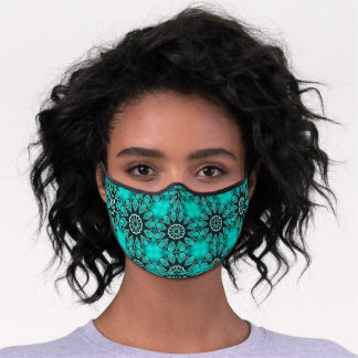 Classy Teal Blue Green Abstract Mandala Medallions Premium Face Mask