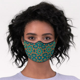 Classy Teal Blue Orange Abstract Mandala Medallion Premium Face Mask