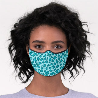 Classy Teal Blue Turquoise Leopard Skin Premium Face Mask