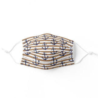 Classy Vintage Blue Anchor On White Brown Stripes Adult Cloth Face Mask