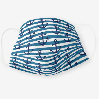 Classy Vintage Blue Anchor On White Teal Stripes Cloth Face Mask