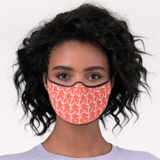 Classy Vintage White Anchor On Coral Red Orange Premium Face Mask