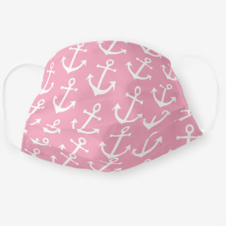Classy Vintage White Anchor On Rose Blush Pink Cloth Face Mask