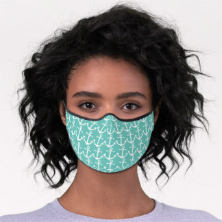 Classy Vintage White Anchor Turquoise Blue Green Premium Face Mask
