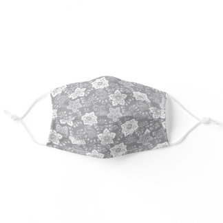 Classy White Paisley Floral On Gray Adult Cloth Face Mask