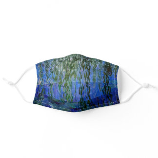 Claude Monet - Water Lilies with weeping willow Adult Cloth Face Mask