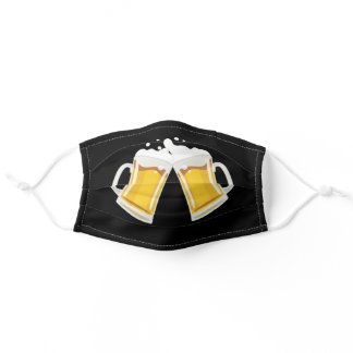 Clinking Beer Mugs Black Adult Cloth Face Mask