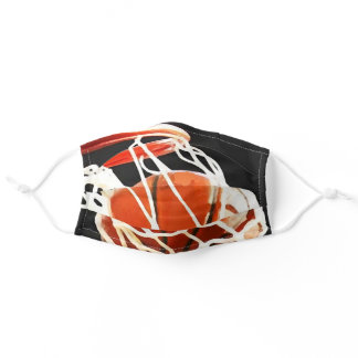 Close-up Basketball in Hoop Sports Art Adult Cloth Face Mask