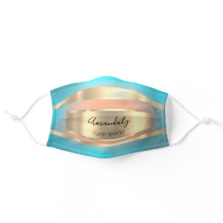 Cloth Face Mask with Filter Slot Blue Gold Stripes