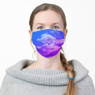 Clouds in Sky Photo, Blue to Violet Adult Cloth Face Mask