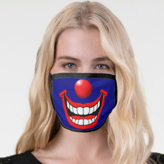 Clown Face with red nose and smile Face Mask