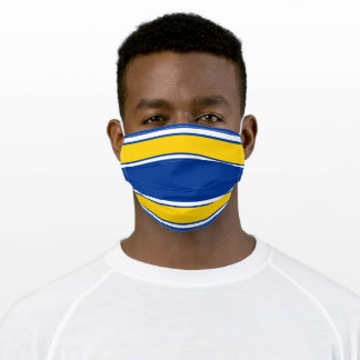 Cobalt Blue and Vivid Amber Sports Stripe Adult Cloth Face Mask