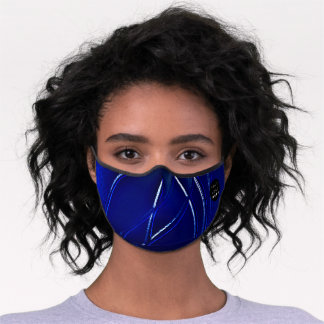 Cobalt Blue Navy Abstract Lines Custom Logo Premium Face Mask