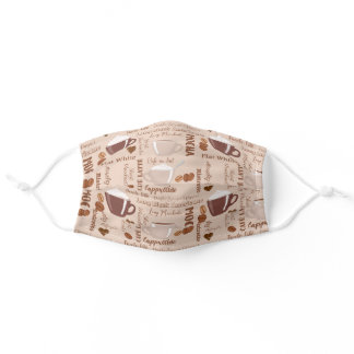 Coffee Terms Brown Pattern Adult Cloth Face Mask