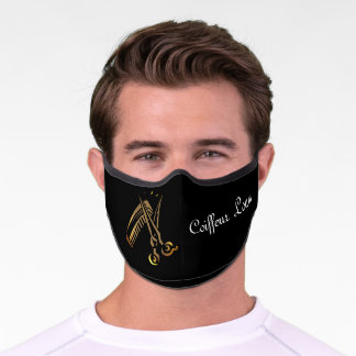 Coiffeur's golden  design -  add name premium face mask