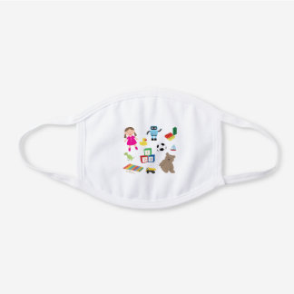 Collage of Kids Toys White Cotton Face Mask