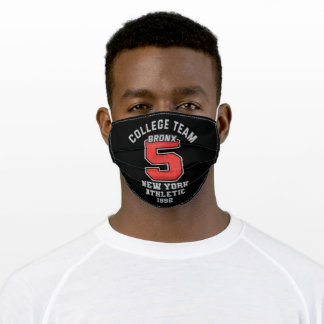 College team five typography adult cloth face mask