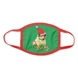 Collie Puppy Christmas Face Mask