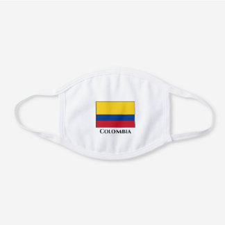 Colombia (Colombian) Flag White Cotton Face Mask
