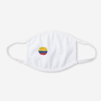 Colombia flag, Colombian Grunge , Mapa, Colombian White Cotton Face Mask